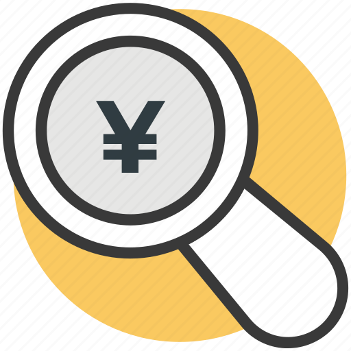 japanese yen, magnifying, search, search yen, yen icon
