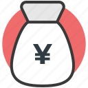 japanese yen, money sack, yen currency, yen sack icon