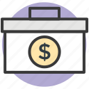 bag, briefcase, business bag, currency bag, suitcase icon