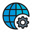 ceo, connection, globe, internet, settings icon