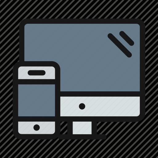 computer, desktop, phone, screen icon