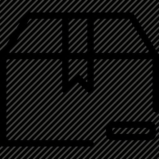 box, container, delivery, mail, minus, remove icon