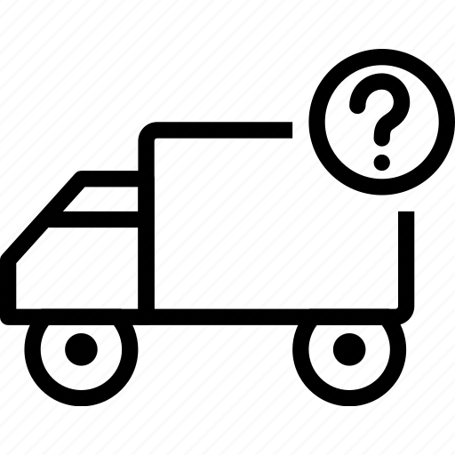 car, delivery, mark, question, truck, vehicle icon