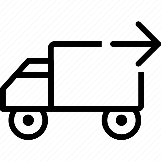 arrow, car, delivery, right, truck, vehicle icon