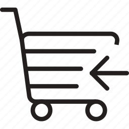 arrow, cart, left, market, shoping, trolly icon