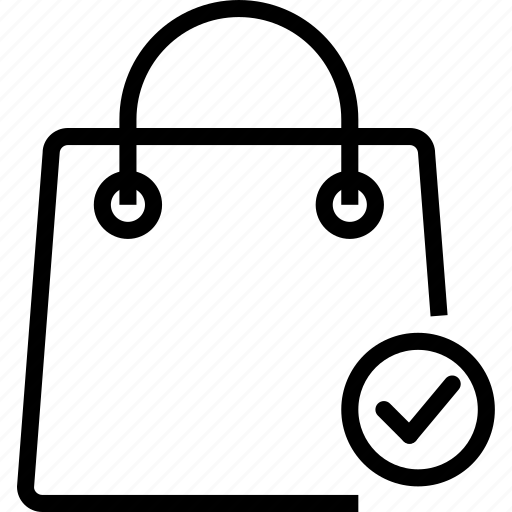 bag, check, ok, shoping icon