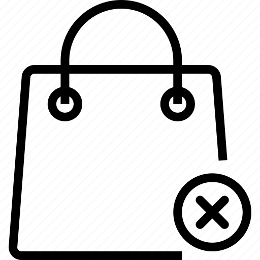 bag, cancel, remove, shoping icon