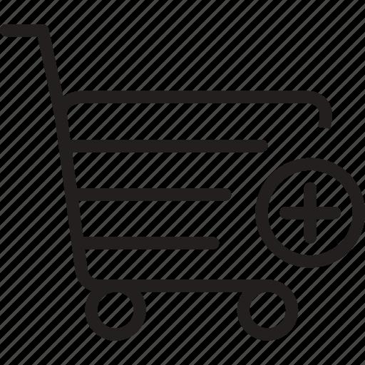 add, cart, market, plus, shoping, trolly icon