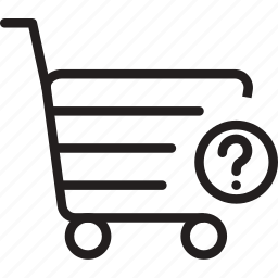 cart, mark, market, question, shoping, trolly icon