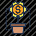 dollar, flower, grow, interest, invest, money