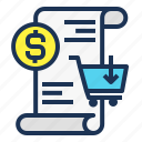 bill, finance, money, payment, report, shopping icon