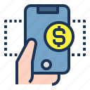 digital, finance, hand, mobile, money, phone, wallet icon