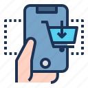 business, buy, commerce, finance, hand, phone, shopping icon