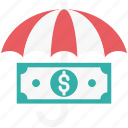 coins, financial, insurance, umbrella, wealth, wealth insurance icon