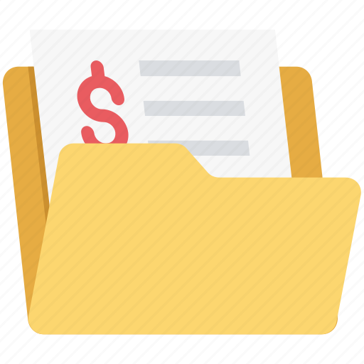business folder, documents, dollar, file storage, files icon
