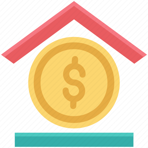 architecture, bank, bank building, building, coin, dollar, real estate icon