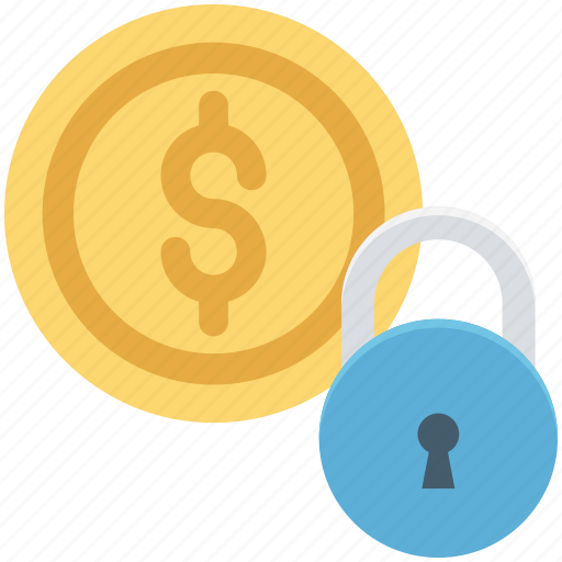 baking, dollar sign, money protection, money safety, padlock icon