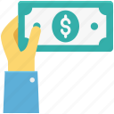 banknote, currency note, dollar, dollar note, paper money, paper note icon