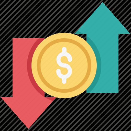 devaluation, dollar, dollar valuation, loss, up arrow icon