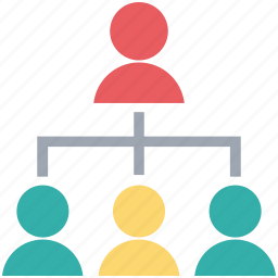 clients, communication, management, team hierarchy, users icon