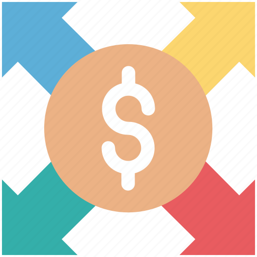affiliate, arrows, business, dollar, network icon