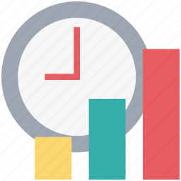 bar chart, bar graph, progress chart, timer icon