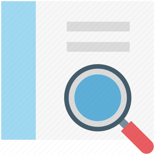 book, magnifying, search book, search file, search glass icon