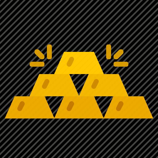 bar, finance, gold, money, pile, rich icon
