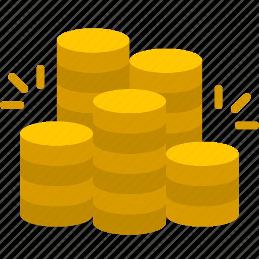 bank, coin, dollar, finance, money, pile, rich icon