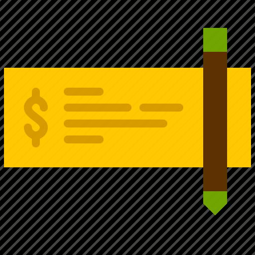check, finance, money, paper, pencil, value icon