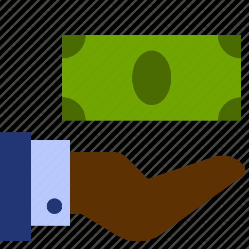 bill, dollar, finance, hand, money icon