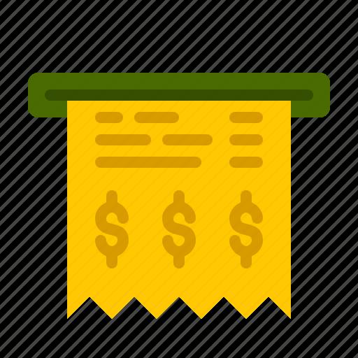 atm, bank, bill, finance, money, paper, statement icon
