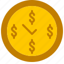 clock, dollar, finance, money, sign, time icon