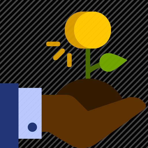 coin, dollar, finance, hand, money, plant, tree icon