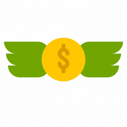 Coin, dollar, finance, fly, money, wings icon - Download on Iconfinder