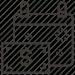 calendar, dollar, event, money icon