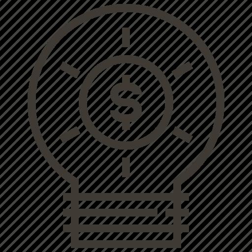 bulb, dollar, idea, light, light bulb, money icon