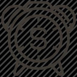 alarm, clock, dollar, money icon