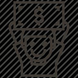 boy, dollar, money, sign icon