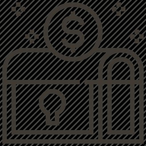 bank, chest, dollar, locked, money, money chest icon