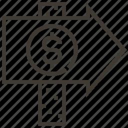 arrow, dollar, finance, money, sign icon