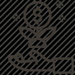 dollar, finance, growth, hand, money icon