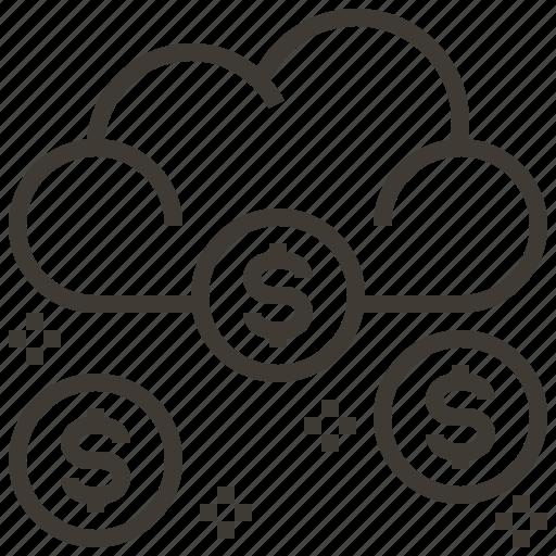 cloud, dollar, finance, money icon