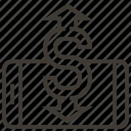 device, dollar, finance, money, transfer icon