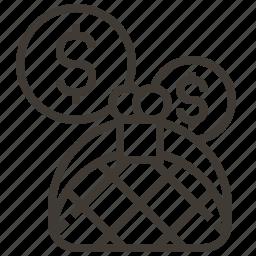 coin purse, dollar, money, purse icon