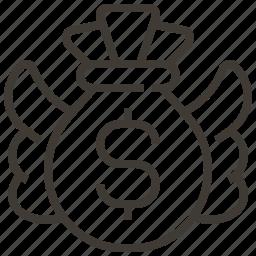 bag, dollar, donation, money, money bag icon