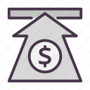 arrow, dollar, finance, money, up, value icon