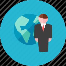 businessman, globe icon