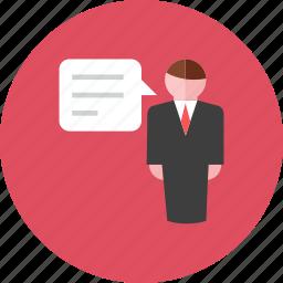 businessman, talk icon