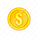 cartoon, coin, dollar, finance, gold, investment, money icon